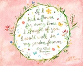 Eternal Garden Horizontal Print | Watercolor Lettering | Inspirational Quote | Katie Daisy | Floral | 8x10 | 11x14