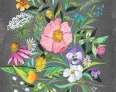 30 Year Bouquet | Wildflower Art Print | Floral Wall Art | Katie Daisy | 8x10 | 11x14