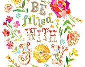 Be Filled with Joy - various sizes - STRETCHED CANVAS - Katie Daisy art