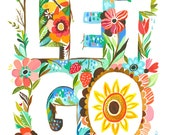 Let Go art print | Watercolor Typography | Hand Lettered | Floral Wall Art | Katie Daisy