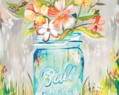 Ball Jar - various sizes - STRETCHED CANVAS - Katie Daisy art