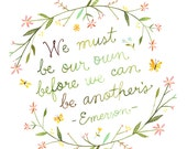 Our Own art print | Emerson Quote | Watercolor Quote | Hand lettering | Floral Wreath | Katie Daisy | 8x10 | 11x14