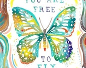 Free to Fly - various sizes - STRETCHED CANVAS - Katie Daisy art