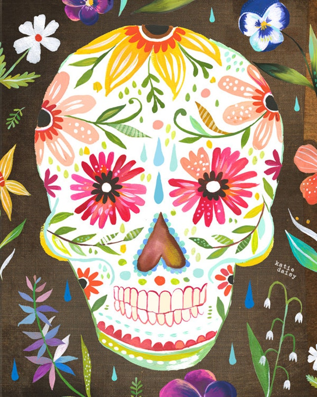 Sugar Skull Art Print Day of The Dead dia de los muertos | Etsy