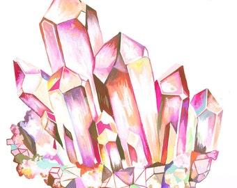 Quartz art print   Watercolor gemstone   Katie Daisy Wall Art  