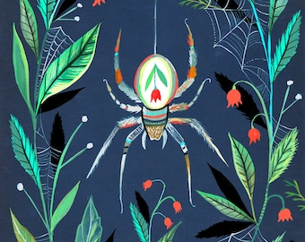 Along Came a Spider Art Print  | Watercolor and Acrylic | Katie Daisy | 8x10 | 11x14