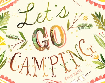 Let's Go Camping art print | Nature Wall Art | Rustic Decor