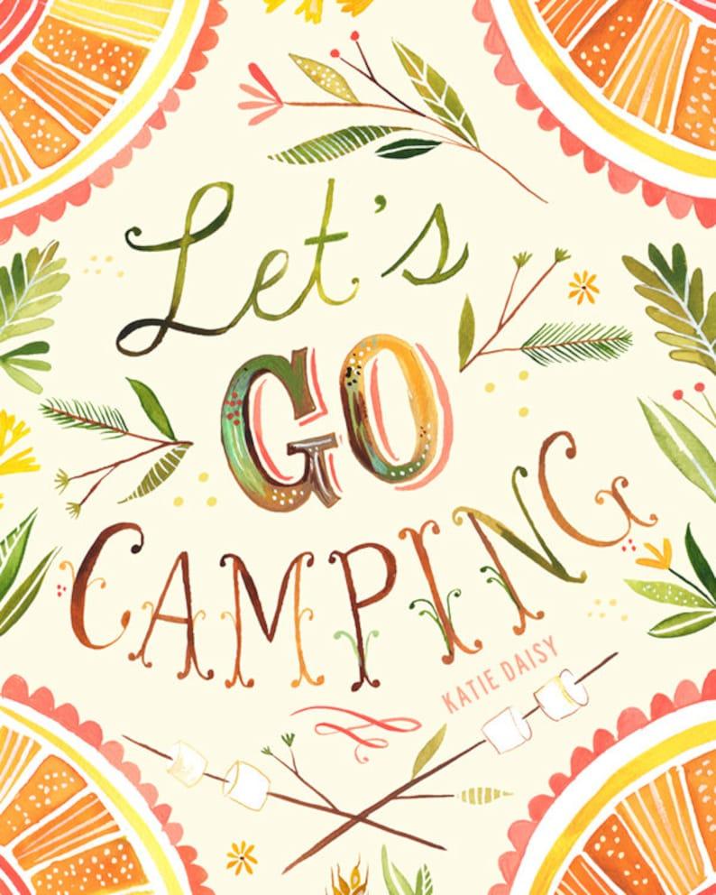 4e92c99b809 Let's Go Camping art print Nature Wall Art Rustic   Etsy