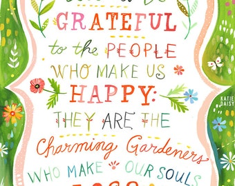 Charming Gardeners Print | Watercolor Quote | Inspirational Wall Art | Home Decor | Lettering | Katie Daisy | 8x10