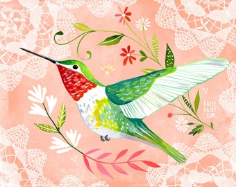 Hummingbird art print | Nursery Decor | Wall Art | Bird Painting | Katie Daisy | 8x10 | 11x14