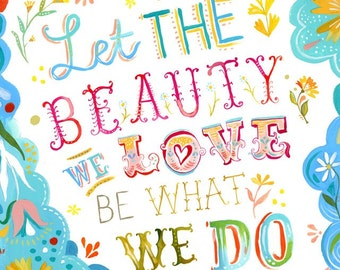 Beauty We Love art print   Rumi Quote   Watercolor Quote   Hand Lettering   Katie Daisy Wall Art