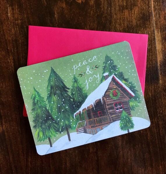 Christmas Notecards.Peace And Joy Greeting Cards Christmas Cards Holiday Notecards Katie Daisy