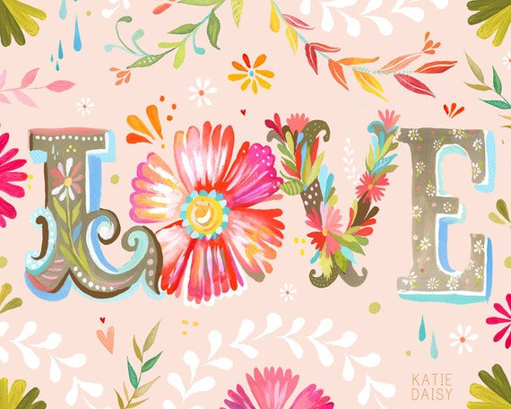 Horizontal Love Print Floral Typography Pink Wall Art Etsy