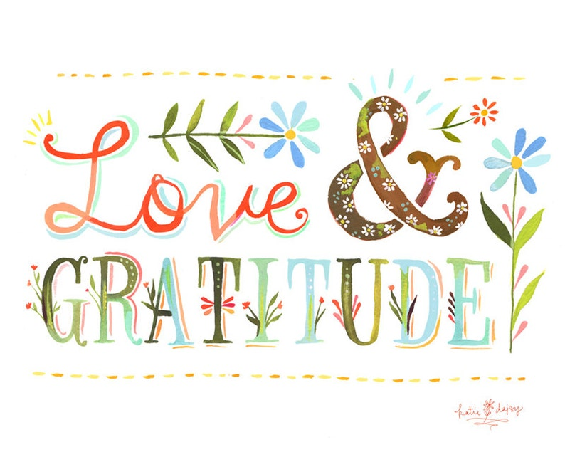 Love and Gratitude Art Print  Watercolor Quote  image 0