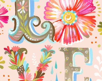 LOVE Block Letter Vertical Print    Watercolor Nursery Art   Inspirational Print   Lettering   Katie Daisy   Wall art   8x10   11x14