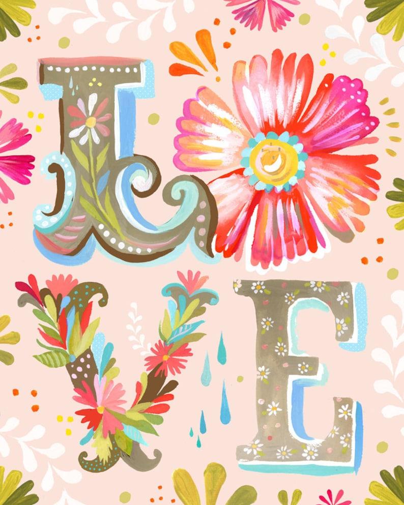 LOVE Block Letter Vertical Print   Watercolor Nursery Art  image 0