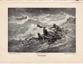 "Original 1897 Engraving ""The Shipwreck"" by Walter M. Aikman"