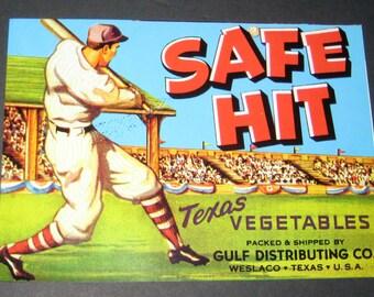 small baseball vintage Texas vegetable crate label Safe Hit Weslaco tx