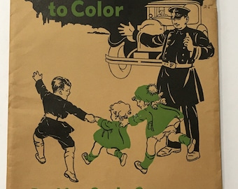 Vintage (1928) Educational Aid - Safety First Posters to Color - Wonderful Vintage Drawings of Children