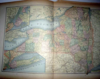 Antique  Map from 1891  New Popular Atlas of the World -  New York State or Brooklyn and Northern New York City