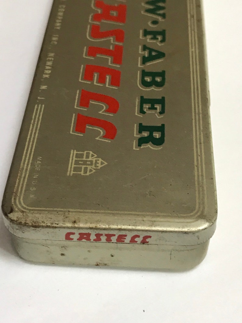 vintage 1945 tin of 12 aw faber castell pencils h lead for