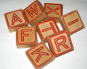 8 Vintage Alphabet Blocks for Crafting or Decorating