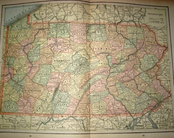 Antique  Map from 1891  New Popular Atlas of the World -  Pennsylvania or Southern New York City and Philadelphia