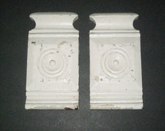 2 Antique Architectural Element - Chippy White Wooden Chunks of Decorative Trim
