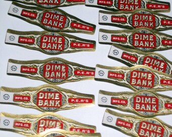 20 Vintage (1920s) Dime Bank Cigar Bands for Collecting of Crafting