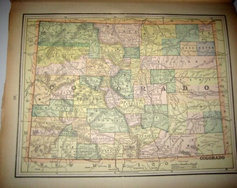 Antique  Map from 1891  New Popular Atlas of the World - Colorado or Oregon