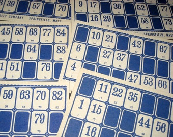 12 Blue Vintage Lotto Cards for Altered Art, Paper Crafts, Collage, etc.