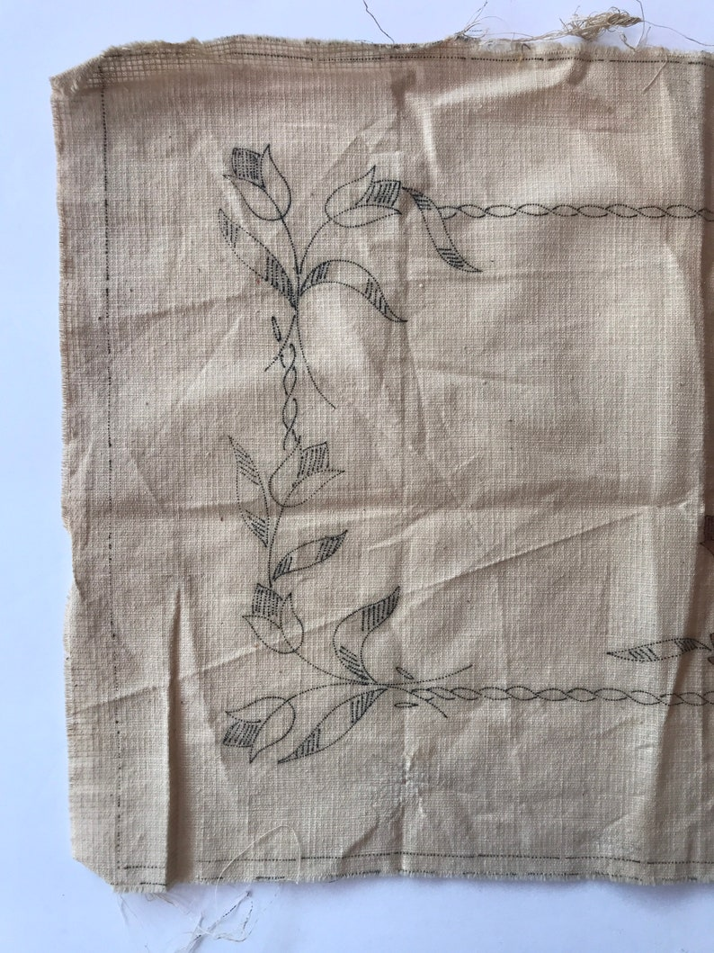 Vintage Embroidery Design to Complete Dutch Children and Tulips