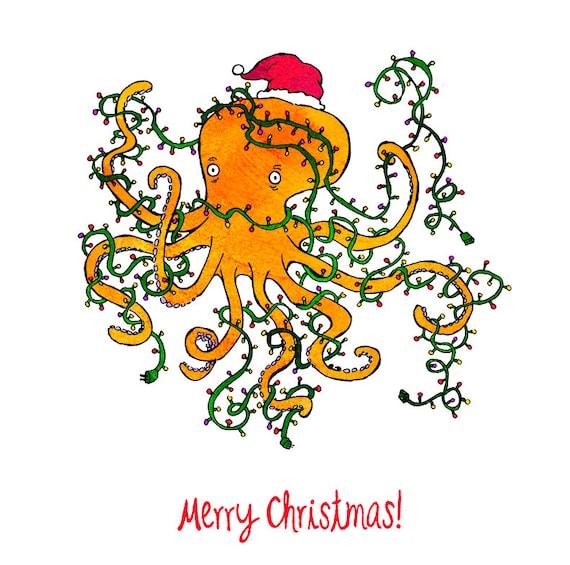 Christmas Humor Clip Art.Tangled Christmas Humorous Whimsical Pen And Ink Digital Funny Humor