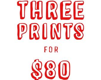 Three Prints for 80 - home decor, wall decor