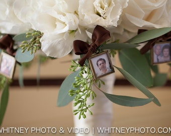 Square Double Sided Photo Frame Bouquet Charm