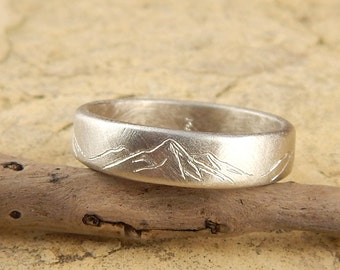 White gold Mountain ring, solid 14k WHITE gold band, 6 mm wide x 1.5 mm thick, engraved mountains. *SIZE Guarantee*