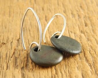 Simple beach stone earrings, green stone long earrings, handmade sterling silver earwires, petals, ready to ship.