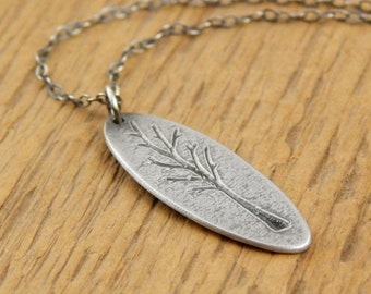 Tiny tree pendant *Ready to Ship* Tiny tree charm necklace *OXIDIZED textured finish* sterling silver engraved tree, 1 inch long small oval.