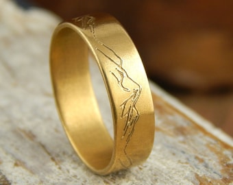 Mountain ring, solid GOLD *7 mm wide x 1.5 mm thick*  14k yellow gold band, engraved mountains. *SIZE Guarantee*