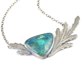 Shattuckite stone necklace, handmade one of a kind bezel set stone, sterling silver made by hand, adjustable chain length.