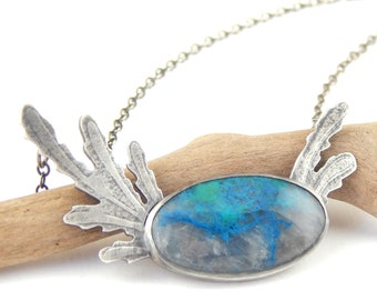 Handmade shattuckite necklace, one of a kind bezel set stone, sterling silver made by hand, adjustable chain length.