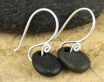 Beach stone earrings, black stone earrings, handmade sterling silver earwires, 1 inch long, ready to ship. (#56)