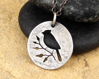 Cardinal necklace *OXIDIZED textured finish* hand-cut sterling silver bird on branch, tiny 5/8 inch cardinal pendant