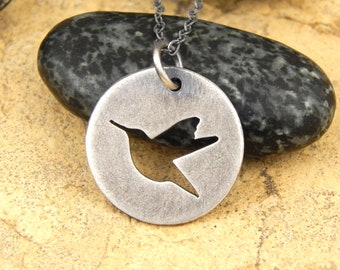 Hummingbird necklace *OXIDIZED finish* hand-cut sterling silver bird necklace, tiny 5/8 inch hummingbird pendant *Ready to Ship