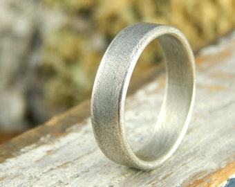 Plain wedding band *Weathered Oxidized finish* Choice of width 5, 6, 7, or 8 mm sterling silver, simple wedding band, 1.5 mm thick.