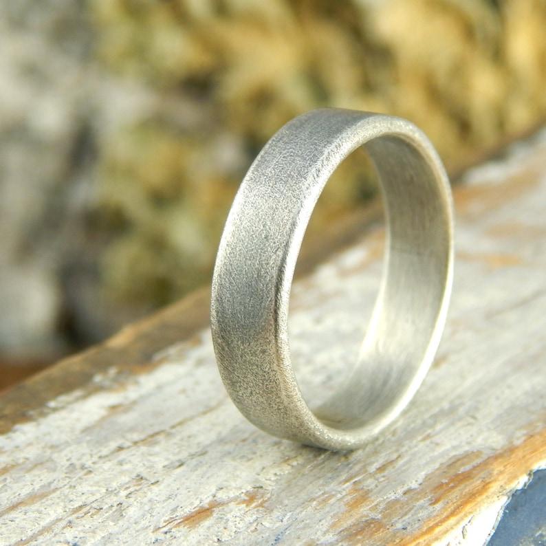 Plain wedding band Weathered Oxidized finish wide sterling image 0