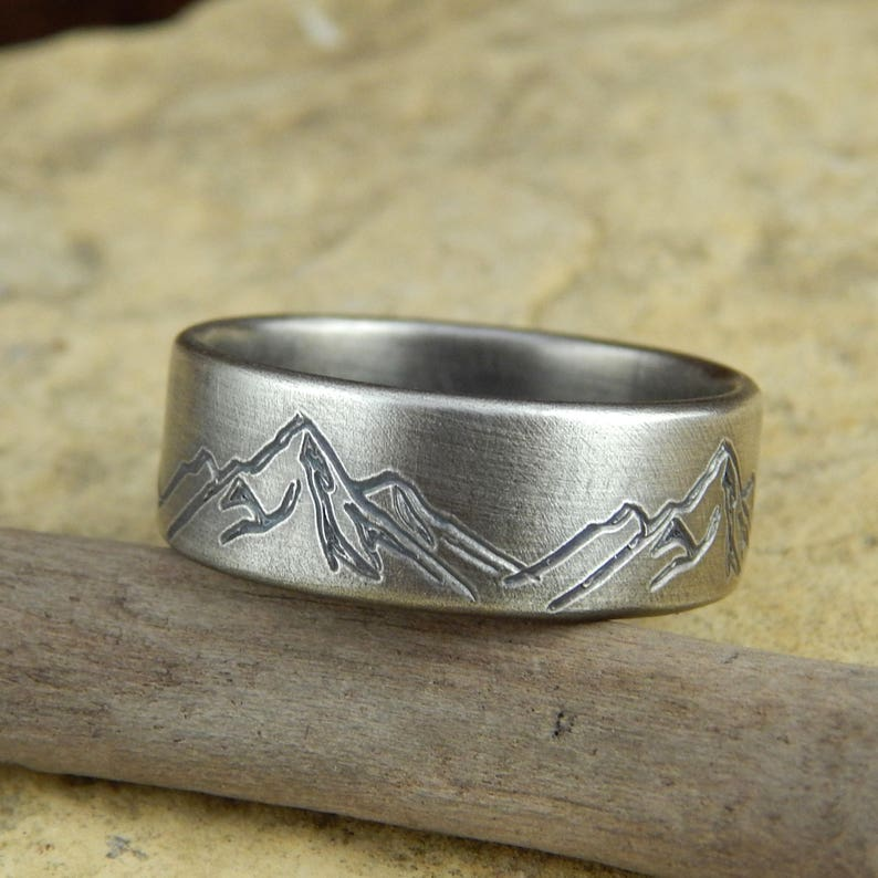 Mountain ring wedding band   8 mm wide  engraved sterling image 0
