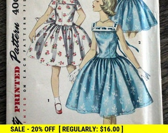 ad040ee3d0 1956 Simplicity  1633 sewing pattern - Girl s size 8 - One-piece dress -  Unusual neckline (front   back)