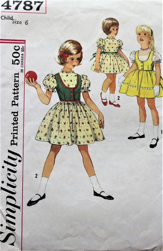 1950s Simplicity sewing pattern 4787 in Girl\'s size 6 | Etsy