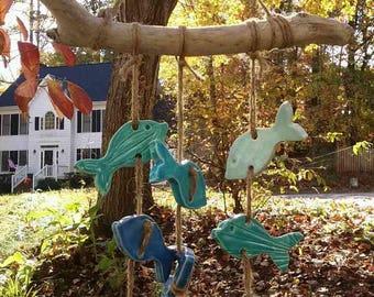 Fish Wind Chime, Ceramic Fish Wind Chime, Fish Wind Chime on Driftwood, Fish on Driftwood, Wind Chime on Driftwood, Driftwood Wind Chime